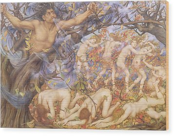 Boreas And Fallen Leaves Wood Print by Evelyn De Morgan