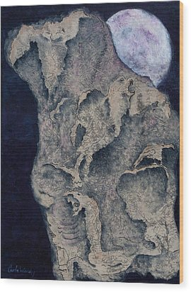 Wood Print featuring the mixed media Born Of The Moon by Carla Woody