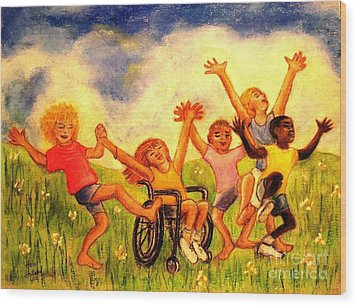 Wood Print featuring the pastel Born To Be Free by Hazel Holland