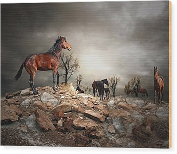 Born To Be Wild Wood Print by Davandra Cribbie