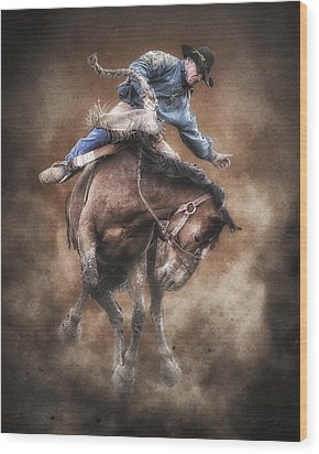 Born To Buck Live To Ride Wood Print by Ron  McGinnis