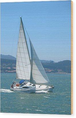 Born To Sail Wood Print by Connie Fox