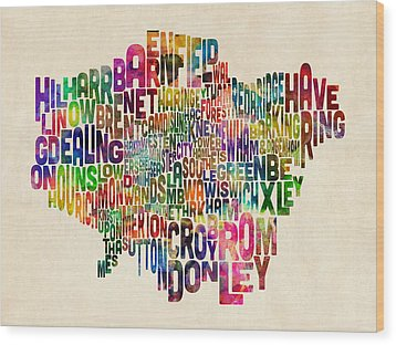 Boroughs Of London Typography Text Map Wood Print by Michael Tompsett
