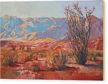 Ocotillo Gold Wood Print by Erin Hanson
