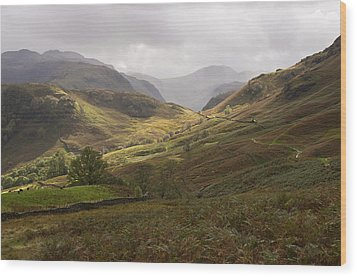 Borrowdale Towards Great Gable Wood Print by Pete Hemington