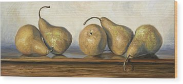 Bosc Pears Wood Print by Lucie Bilodeau
