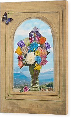 Bosschaert - Flowers In A Large Roemer Wood Print by Levin Rodriguez