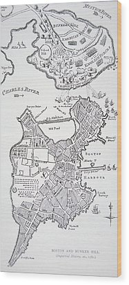 Boston And Bunker Hill 1781 Wood Print by American School