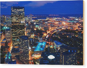 Boston At Night Wood Print by James Kirkikis