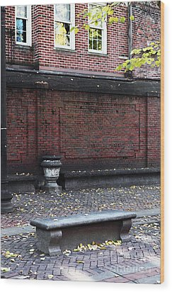 Boston Bench Wood Print by John Rizzuto