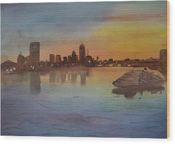 Boston Charles River At Sunset  Wood Print by Donna Walsh