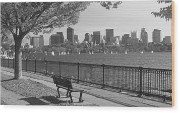 Boston Charles River Black And White  Wood Print by John Burk
