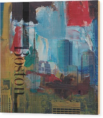 Boston City Collage 3 Wood Print by Corporate Art Task Force