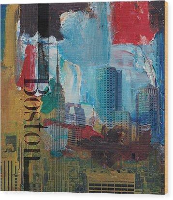 Boston City Collage 3 Wood Print