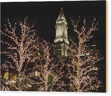Boston Custom House With Christmas Lights Wood Print