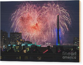 Wood Print featuring the photograph Boston Fireworks 1 by Mike Ste Marie
