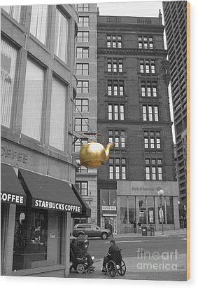 Wood Print featuring the photograph Boston Golden Teapot by Cheryl Del Toro