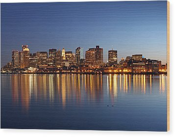 Boston Harbor And Downtown Wood Print by Juergen Roth