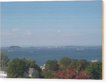 Wood Print featuring the photograph Boston Harbor From Hull by Barbara McDevitt