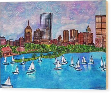 Boston Harbor Wood Print by Janet Immordino
