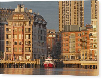 Boston Harbor Luxury Living Wood Print by Juergen Roth