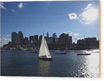 Boston Harbor Wood Print by Olivier Le Queinec