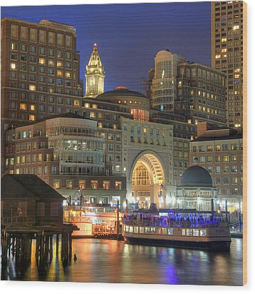 Boston Harbor Party Wood Print