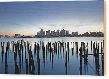 Boston Harbor Skyline With Ica Wood Print by Juergen Roth