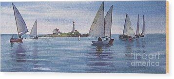 Boston Harbor Spring Sail Wood Print by Karol Wyckoff
