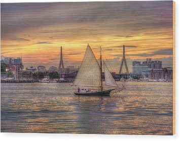 Boston Harbor Sunset Sail Wood Print