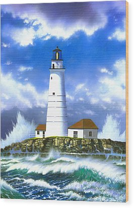 Boston Light Wood Print by MGL Studio - Chris Hiett