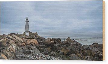Boston Lighthouse On The Rocks Wood Print