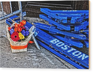 Boston Marathon Blues Wood Print by Mike Martin