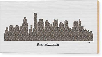 Boston Massachusetts 3d Stone Wall Skyline Wood Print