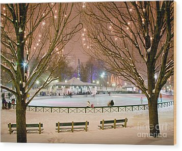 Boston New Year Skate Wood Print by Susan Cole Kelly
