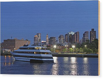 Boston Odyssey Cruise Ship Wood Print by Juergen Roth