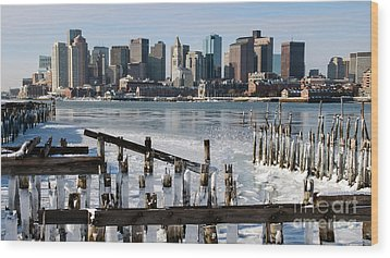 Wood Print featuring the photograph Boston - On The Rocks by Stephen Flint