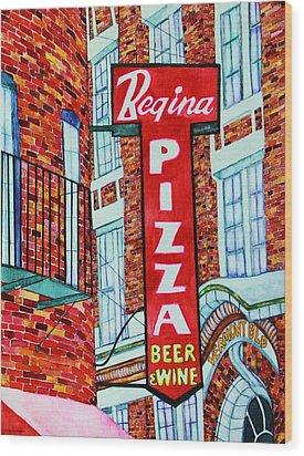 Boston Pizzeria  Wood Print