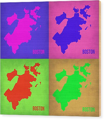 Boston Pop Art Map 1 Wood Print by Naxart Studio