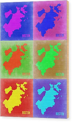 Boston Pop Art Map 3 Wood Print by Naxart Studio