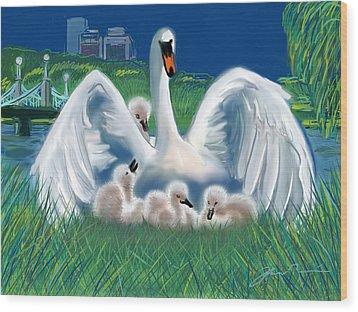 Boston Public Garden Swan Family Wood Print by Jean Pacheco Ravinski
