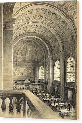 Boston Public Library Bates Hall 1896 Wood Print by Padre Art