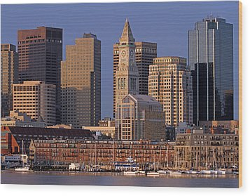 Boston Sail Boats And Cityscape Wood Print by Juergen Roth