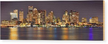 Boston Skyline At Night Panorama Wood Print by Jon Holiday