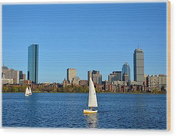 Wood Print featuring the photograph Boston Skyline Back Bay View by Amanda Vouglas