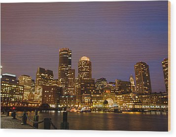 Boston Skyline Blue Hour Wood Print by Stewart Mellentine