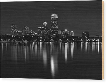Boston Skyline By Night - Black And White Wood Print