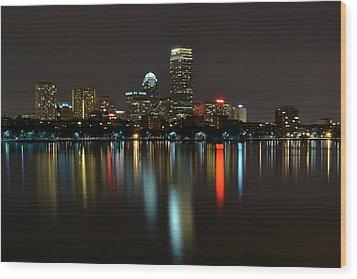 Boston Skyline By Night Wood Print