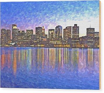 Boston Skyline By Night Wood Print by Rachel Niedermayer