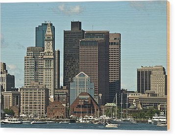 Wood Print featuring the photograph Boston Skyline by Caroline Stella